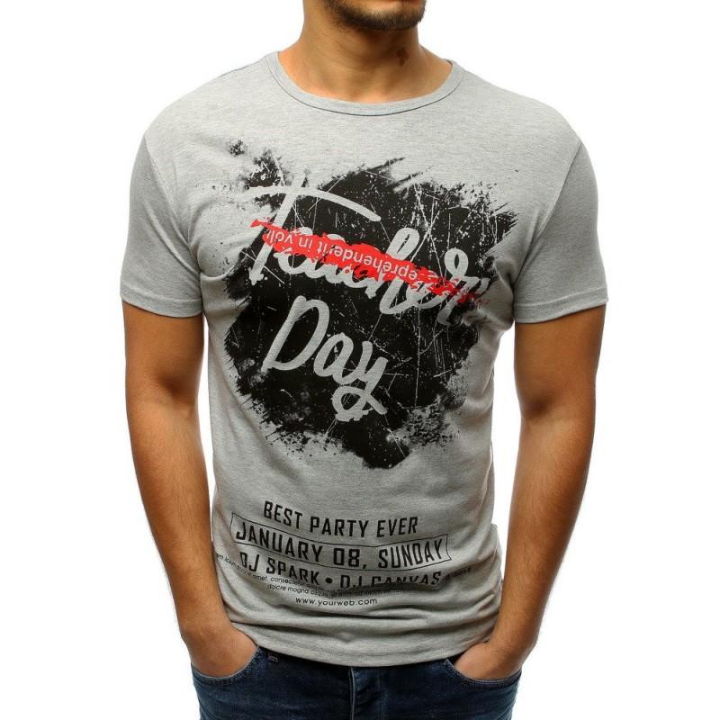 62124ea33df7 Pánské triko v šedé barvě s nápisy