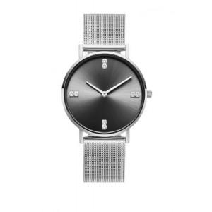 Stříbrné dámské hodinky se stylovým černým ciferníkem s krystalky