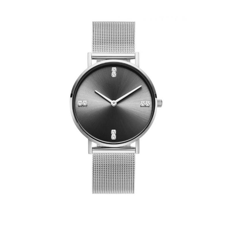 d7127802f Stříbrné dámské hodinky se stylovým černým ciferníkem s krystalky