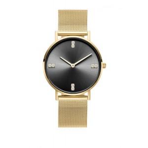 Luxusní dámské zlaté hodinky s černým ciferníkem se zirkony