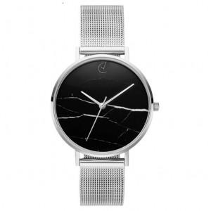 Originální stříbrné dámské hodinky s černým ciferníkem