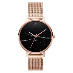 Elegantní dámské hodinky růžovo zlaté s černým mramorovým ciferníkem