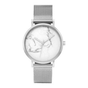 Trendy dámské stříbrné hodinky s originálním designem v ciferníku