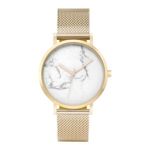 Dámské zlaté náramkové hodinky s potiskem mramoru v ciferníku