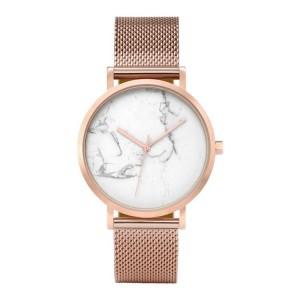 Elegantní dámské hodinky zlato růžové s ciferníkem imitujícím mramor