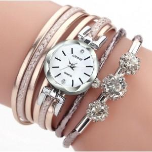 Stylové dámské hodinky s trendy růžovým metalickým řemínkem