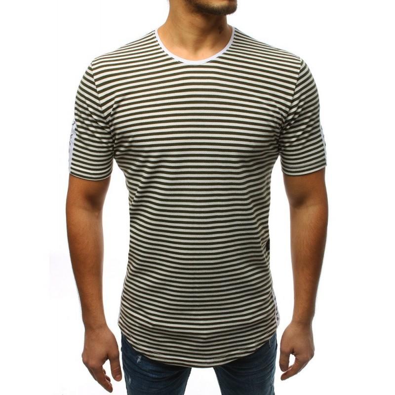 ba100730a Pánské pruhované tričko v zelené barvě