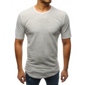 Proužkované šedé pánské prodloužené tričko