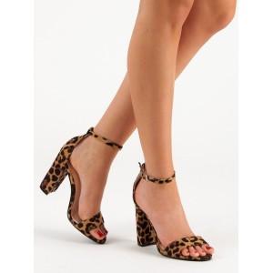 Originální dámské tygrované sandály na vysokém módním podpatku