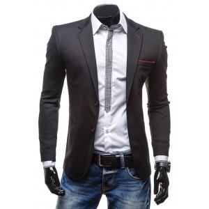 Pánské černé sako s červeným lemováním vhodné pro každého byznysmena