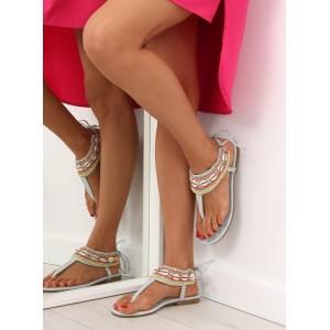 Dámské sandály na nízkém podpatku v modré barvě