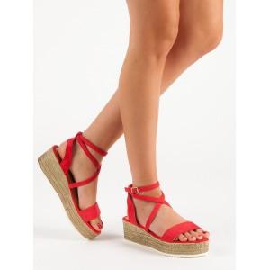 Dámské semišové letní červené sandály na platformě s trendy vázáním