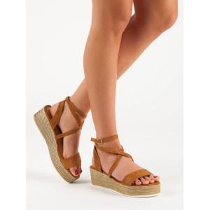 Dámské semišové hnědé sandály na platformě s vázáním kolem nohy