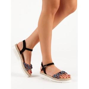 Dámské černé sandály na platformě s řemínkem a barevným pletencem