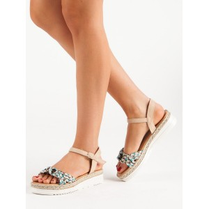 Originální dámské béžové letní sandály na platformě s vázáním