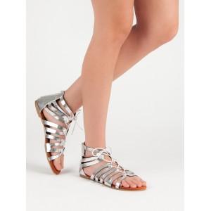 Stříbrně sandály gladiátorky se zadním zipem a šňůrkou