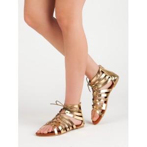 Trendy dámské nízké sandály gladiátorky ve zlaté barvě se zipem