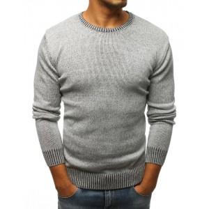 Šedý pánský svetr s kulatým výstřihem