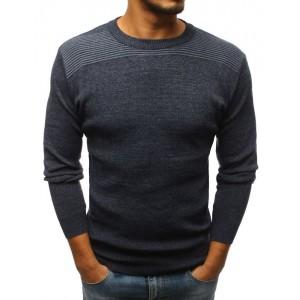 Elegantní pánský svetr tmavě šedé barvy s kulatým výstřihem