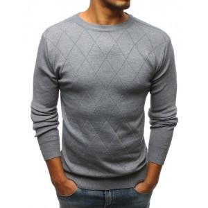 Šedý pánský svetr s elegantním prošitím