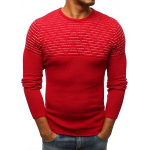 Červený pánský pulovr s kulatým výstřihem