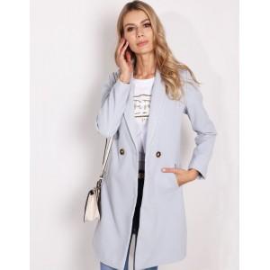 Originální dámský jarní kabát šedé barvy nad kolena s bočními kapsami