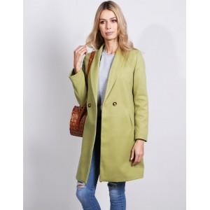Stylový dámský zelený kabát rozšířeného střihu s bočními kapsami