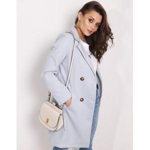 Pastelový dámský kabát v jemné šedé barvě sakového střihu a kapsami