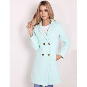 Elegantní zelený dámský kabát s dvouřadým zapínáním na knoflíky