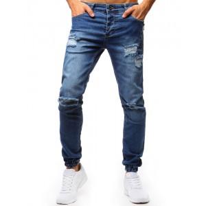 Stylové pánské džíny s módními dírami v modré barvě