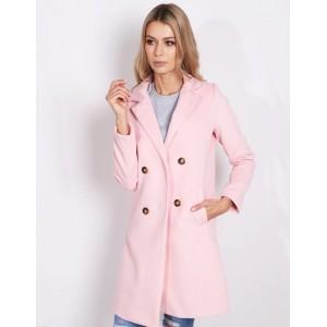 Krásný pastelový dámský kabát v růžové barvě na jarní a podzimní dny