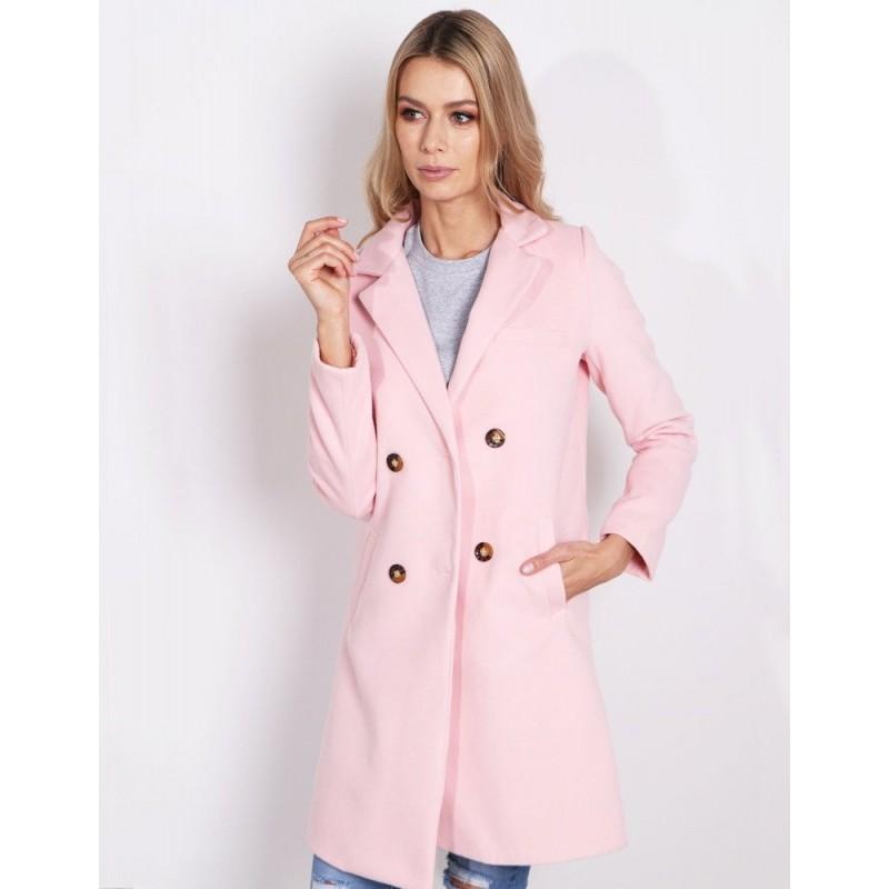 Krásný pastelový dámský kabát v růžové barvě na jarní a podzimní dny ec9ddf3db73