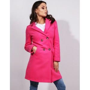 Dámský tmavě růžový jarní kabát rovného střihu s dvouřadým zapínáním