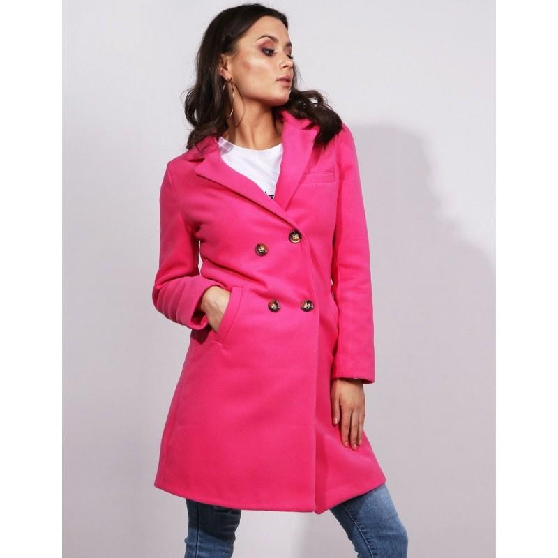 Dámský tmavě růžový jarní kabát rovného střihu s dvouřadým zapínáním 989d2a2045c