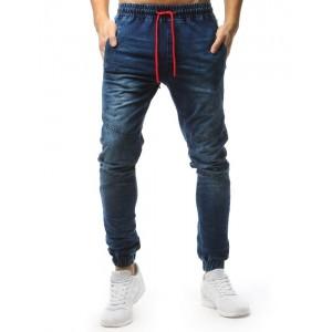 Pánské slim kalhoty modré barvy s gumičkou v pase