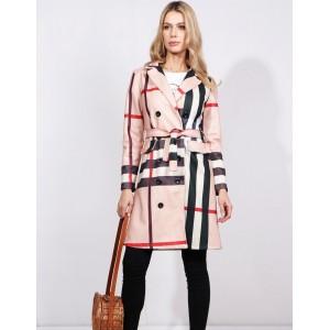 Dámský jarní kabát s páskem a kapsami inspirovaný značkou Burberry