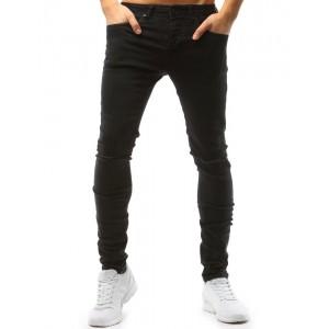 Pánské kalhoty s módními dírami na kolenou černé barvy