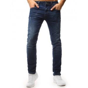 Pánské stylové denim kalhoty modré barvy s módními dírami