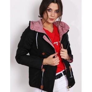 Černá oboustranná dámská bunda pro jaro s bílo červenými pruhy