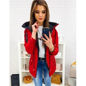 Stylová červená oboustranná dámská bunda se zapínáním na zip
