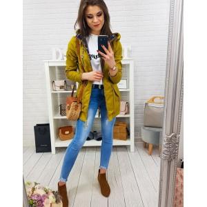 Originální dámská jarní žlutá bunda s kostkovaným futrem a kapucí