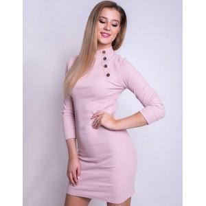 Pudrově růžové úzké dámské šaty s rolákem