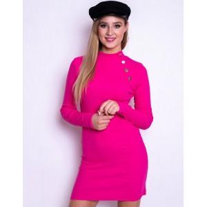 Růžové mini dámské šaty se zlatými knoflíky