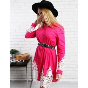 Růžové mini košilové dámské šaty s krajkou