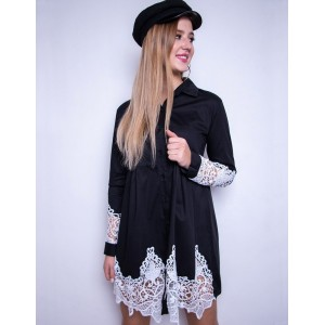 Mini šaty dámské košilového střihu v černé barvě