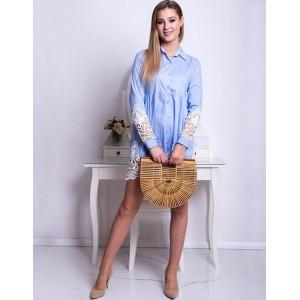 Košilové světle modré dámské šaty s dlouhým rukávem