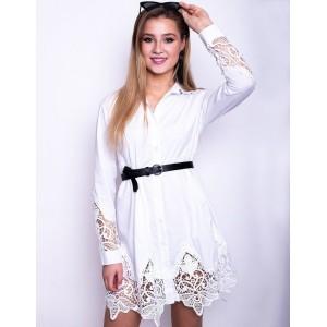 Romantické bílé košilové mini šaty s krajkou
