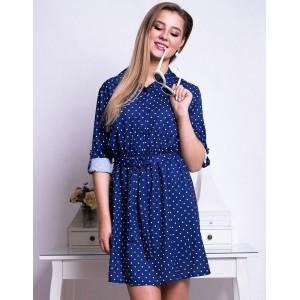 Dámské puntíkované šaty tmavě modré barvy s páskem