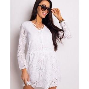Dámské krátké bílé šaty bavlněné s dlouhým rukávem