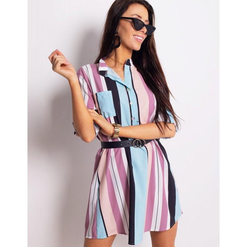 2a4107cfe0bd Dámské pruhované košilové šaty v pastelových barvách